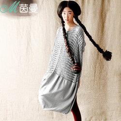 茵曼 唯品春装新款女棉质镂空拼接长袖连衣裙