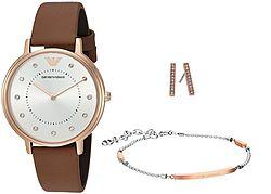 Emporio Armani AR8040 女士时装腕表和首饰 套装