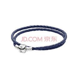 PANDORA 潘多拉 590705CDB-D1 藏青色皮革双圈手链    356.96元含税包邮