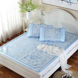 艾虎夏季可折叠冰丝软凉席双人加厚冰丝席三件套(浪花朵朵-蓝色)团购价格-国美团购
