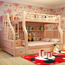 古韵金辉   子母床高低床(梯柜款上铺1.3米下铺1.5米)