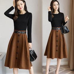 2017秋装新款女连衣裙长袖韩版时尚修身时髦假两件套装裙子春秋款
