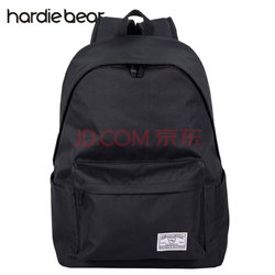 hardiebear 纯色双肩包学生书包大容量时尚 黑色【已结束】