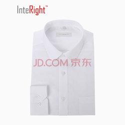 INTERIGHT 超细纤维 免熨烫 商务男款 长袖衬衫 白色 39码