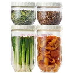 乐扣乐扣(lock&amp lock)储物罐 冰箱侧门塑料收纳罐 四件套