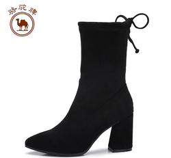 骆驼牌女鞋 性感尖头高跟靴