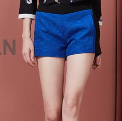 阿依莲2017秋装新款提花短裤时尚撞色显瘦宽松休闲直筒裤女 彩蓝