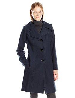 限 US6 码!ANNE KLEIN 女士羊毛大衣深蓝色