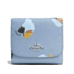 COACH 蔻驰女士女款53758时尚皮质短款钱包钱夹53816(53758浅蓝色)
