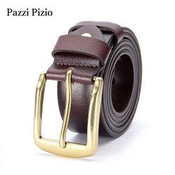 柏芝斐乐(PazziPizio)男士皮带真皮针扣潮流复古休闲新款腰带(M303棕色款式五 115cm)