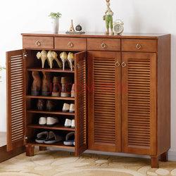 家逸实木四门鞋柜简约现代