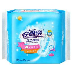 安尔乐 蓝芯体验 棉柔表层 纤巧日用型 卫生巾 245mm*10片(新老包装随机发放)