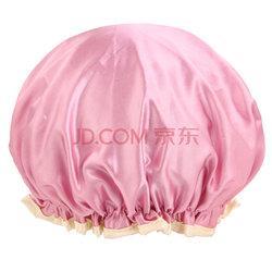 优家(UPLUS)双层加厚多功能缎面防水沐浴帽樱花粉