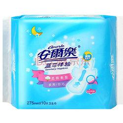 安尔乐 蓝芯体验 棉柔表层 纤巧夜用型 卫生巾 275mm*10片(新老包装随机发放)