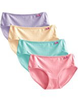 KINGNEWER 肯纽尔 女式 3D印花中腰棉质透气弹力三角内裤(4条装) K7005    45元