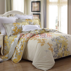 LUOLAI罗莱家纺 纯棉四件套 全棉床品套件床上用品床单被套 金秋WA5023-4 黄 220*250    469元