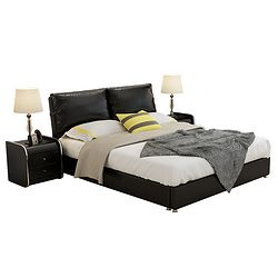 忆斧至家 高箱储物简约双人床(皮床+3抽+椰棕床垫+2柜 1.8米)