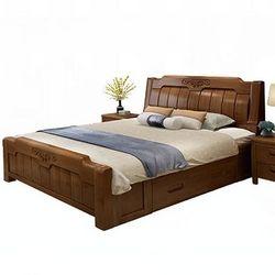 忆斧至家 中式实木框架结构双人床+椰棕床垫 1.8米