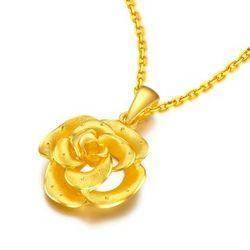 零兑金 玫瑰之恋 足金黄金吊坠 约3.48g