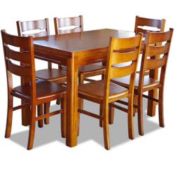 木巴 CZ010+YZ071 橡胶木餐桌椅组合 一桌六椅