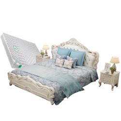 欧尔卡斯 实木雕花床组合 (床1.8m+床头柜*1+床垫*1)【已结束】