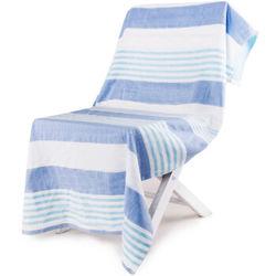 三利 纯棉纱布浴巾  70*140cm 青蓝条纹