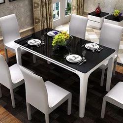 莫忘爱家 现代钢化玻璃烤漆餐桌