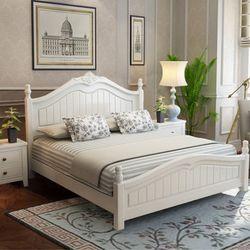 木巴 美式乡村田园风格实木双人床 1.8米床+2个*床头柜