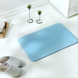 京造 天然硅藻土浴室吸水地垫脚垫  大号 蓝色