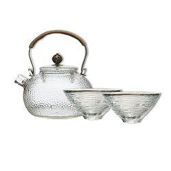 当当优品 光阴系列 祥云锤目纹茶具套装 1个提梁壶+2个斗笠品茗杯