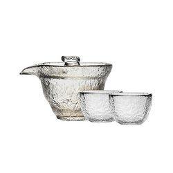 当当优品 光阴系列 初雪 锤目纹茶具套装 1个盖碗+2个圆口品茗杯