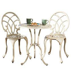 Best selling  百伽 50550 户外庭院铸铝铁艺桌椅组合 一桌两椅