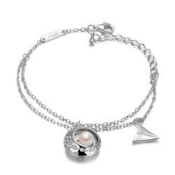 京润 S925银 镶白色淡水珍珠手链 6-7mm14cm+5cm+4cm【已结束】