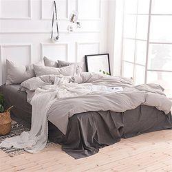 素风家纺 日式无印水洗棉全棉四件套 1.5米-1.8米宽床单款