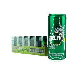 Perrier 巴黎水 原味气泡矿泉水 纤体罐装 330ml*24罐