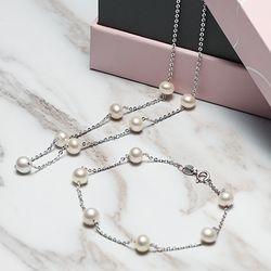 京润珍珠 仲夏 淡水珍珠项链手链套装 6-7mm