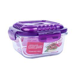 乐扣乐扣 透气耐热玻璃饭盒 增高型便当盒 微波炉玻璃碗密封储物盒 LLG214V紫色500ml *3件