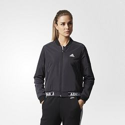 adidas 阿迪达斯 运动型格 女子 夹克 黑 CE2535