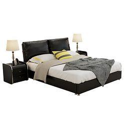 忆斧至家 真皮储物双人床 (1.8米皮床+椰棕床垫+2个柜)