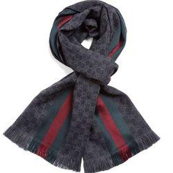 GUCCI 古驰 147351-4G704-1166 中性款双G条纹拼色围巾