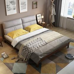 绝品 FSMC1002 北欧实木软包靠背双人床 (皮靠包 1.5m)
