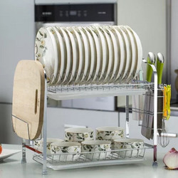 竹咏汇 厨房双层碗盘沥水架 43*25*37.6cm