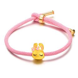 SUNFEEL 赛菲尔 3D硬金 兔子吊坠手串