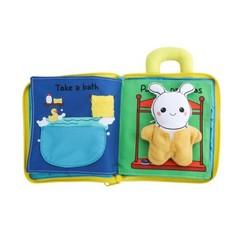 貝恩施 嬰兒玩具3D立體布書 生活習慣(帶兔子布偶)