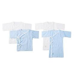 全棉时代 盒装纯棉纱布婴儿服长款2件 短款2件 蓝色+白色