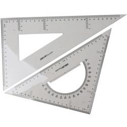 deli 得力 6430 塑料三角尺(直角直尺 等腰三角形直尺)2把装
