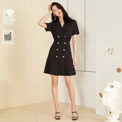 FANSILANEN 范思蓝恩 Z90148 女法式复古裙赫本风小黑裙