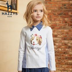 HAZZYS 哈吉斯 儿童圆领长袖T恤
