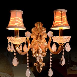 欧式水晶壁灯 客厅卧室床头墙壁灯具 酒店会所过道装饰壁灯金色单双头