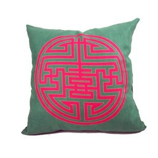 【熙庭家居】中式圆形图案 沙发床头靠垫抱枕 家居布艺 (绿色) (45*45